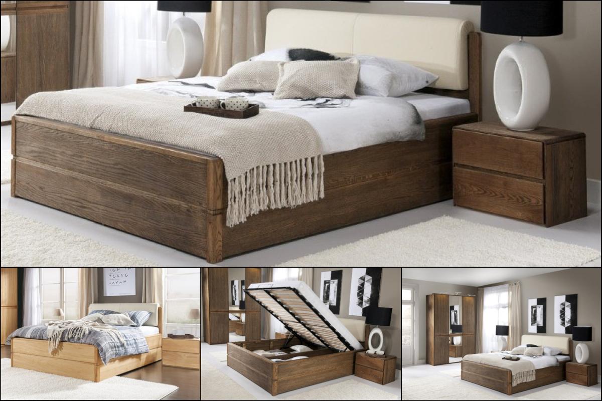 Unikátna posteľ s unikátnym úložným priestorom: to je posteľ, ktorá kombinuje dubový masív, prírodnú dubovú dýhu a krásne čalúnené čelo z eko-kože. (Výrobca: NÁBYTOK MIREK)